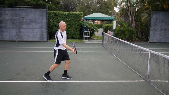 A block volley (forehand).