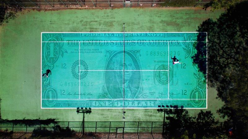 Money on a tennis court.