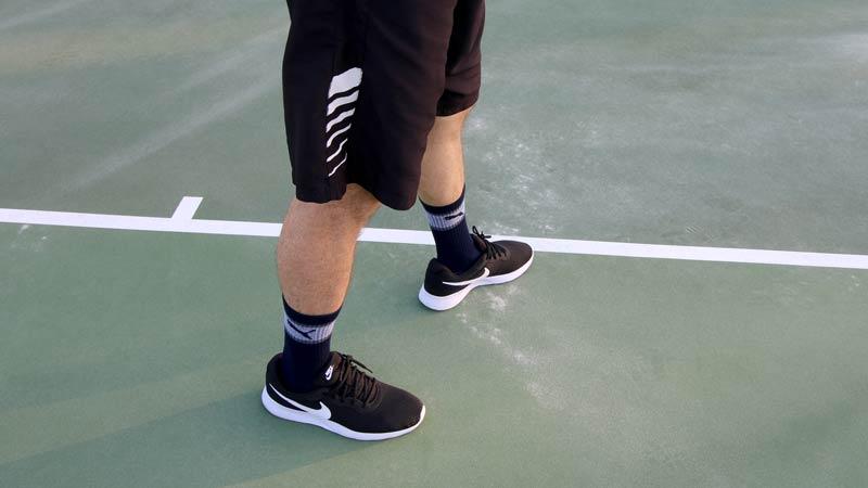 Tennis platform stance.