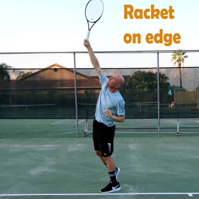 Racket on edge.