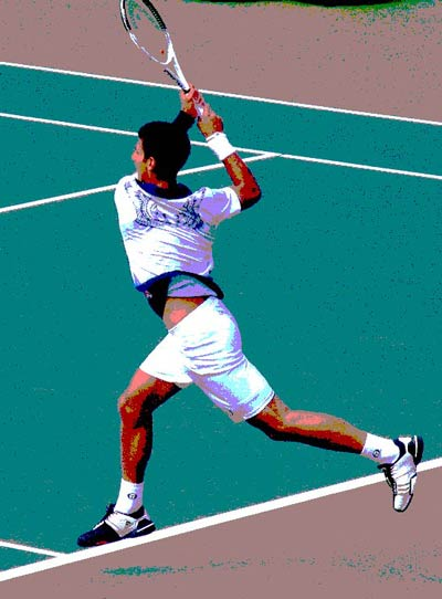 Two-handed backhand stroke.