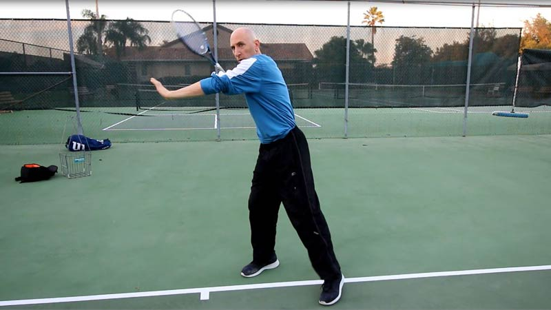Start the forehand with your normal setup.