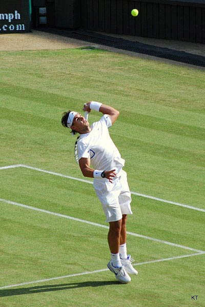 Rafael Nadal hitting an overhead shot.